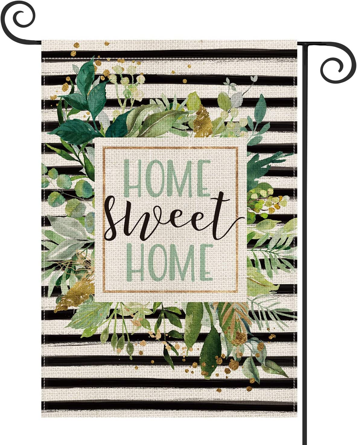 AVOIN Watercolor Stripes Home Sweet Home Garden Flag Double Sided, Spring Summer Leaves Yard Outdoor Decoration 12.5 x 18 Inch