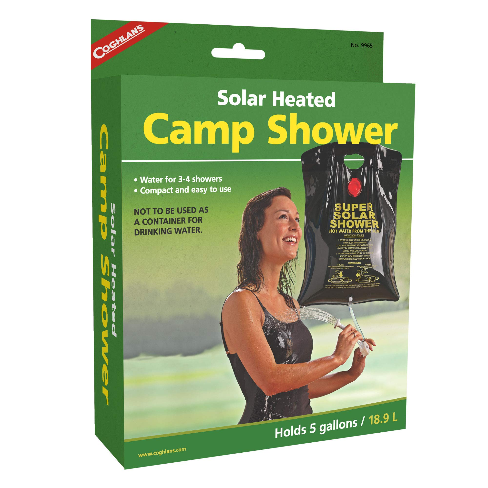 Coghlan's Solar Heated Camp Shower, 5-Gallon, Black