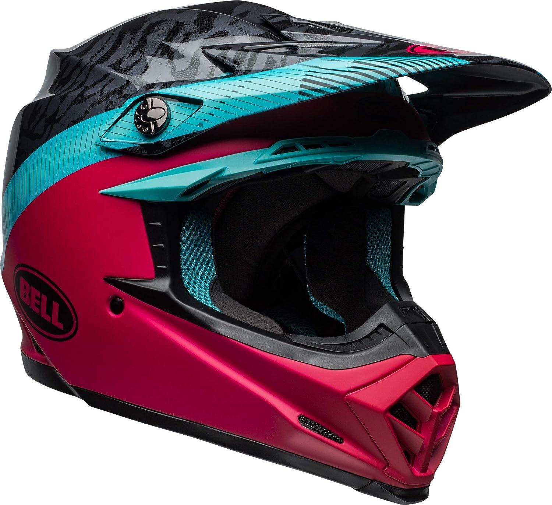 Chief Matte//Gloss Black//Pink//Blue BELL Moto-9 MIPS Dirt Helmet Medium
