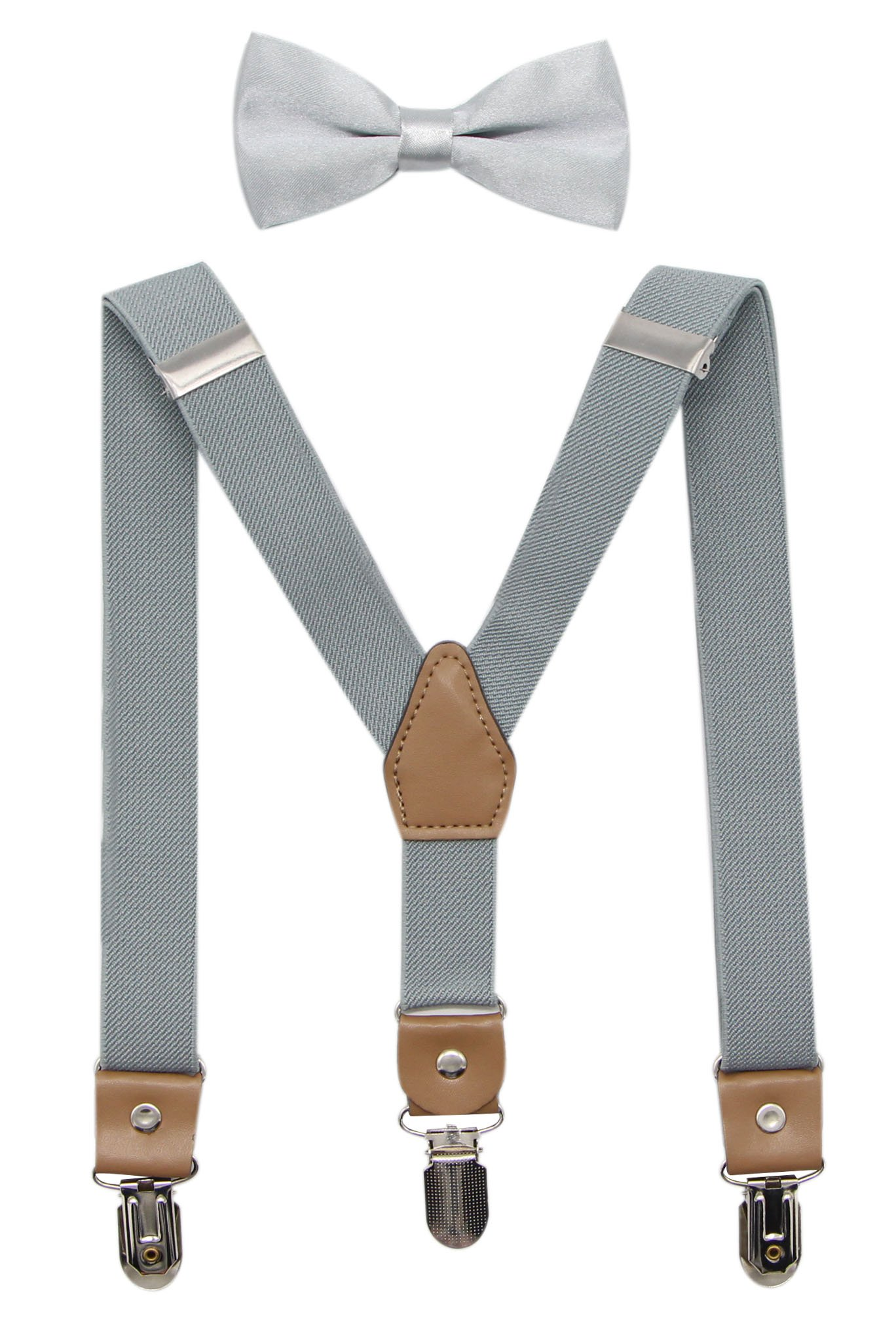 Bioterti Suspenders and Bow Tie For Toddler Kids Boys Adjustable With Strong Clips (Light Grey)