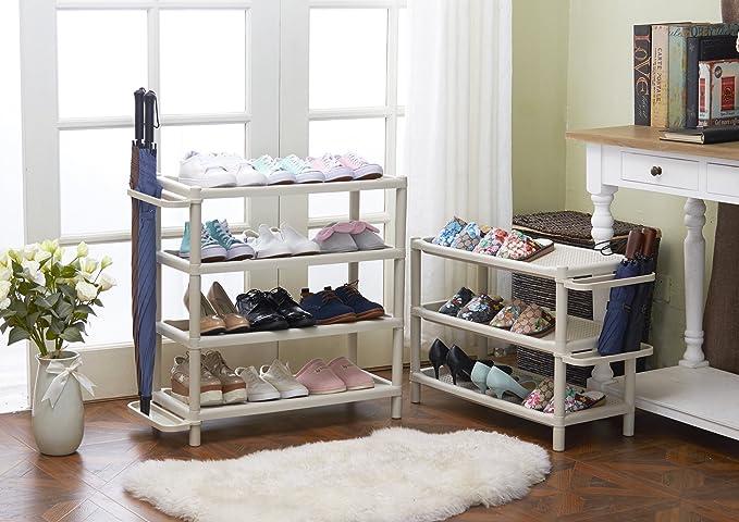 Wei/ß Orolay Modernes Plastik Ecke Regal Standregal mit 4 B/öden Adjustable Boots Storage Organiser Stackable Shoe Rack Plastic Organiser