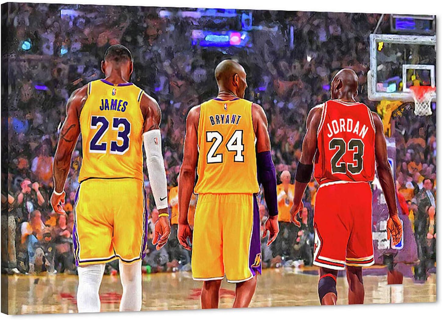 "MJ Jordan Kobe Bryant Lebron James Canvas Wall Art, Legend Basketball Star Michael Kobe Lebron Canvas Print Artwork for Room Decor, Home Bedroom Wall Decor, Men Boys Gift Framed Artwork (12"" Wx18 H)"