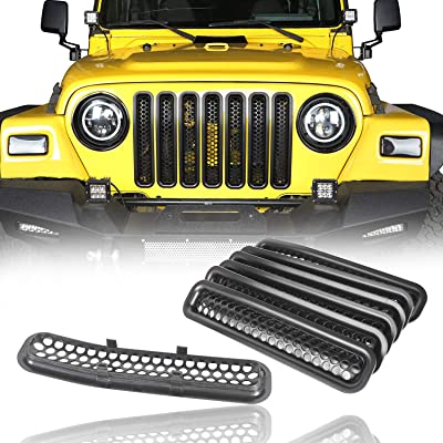 u-Box Front Grill Inserts Clip-in Honeycomb Front Mesh Guard in Black for 1997-2006 Jeep Wrangler TJ & Wrangler Unlimited (7PCS): Automotive