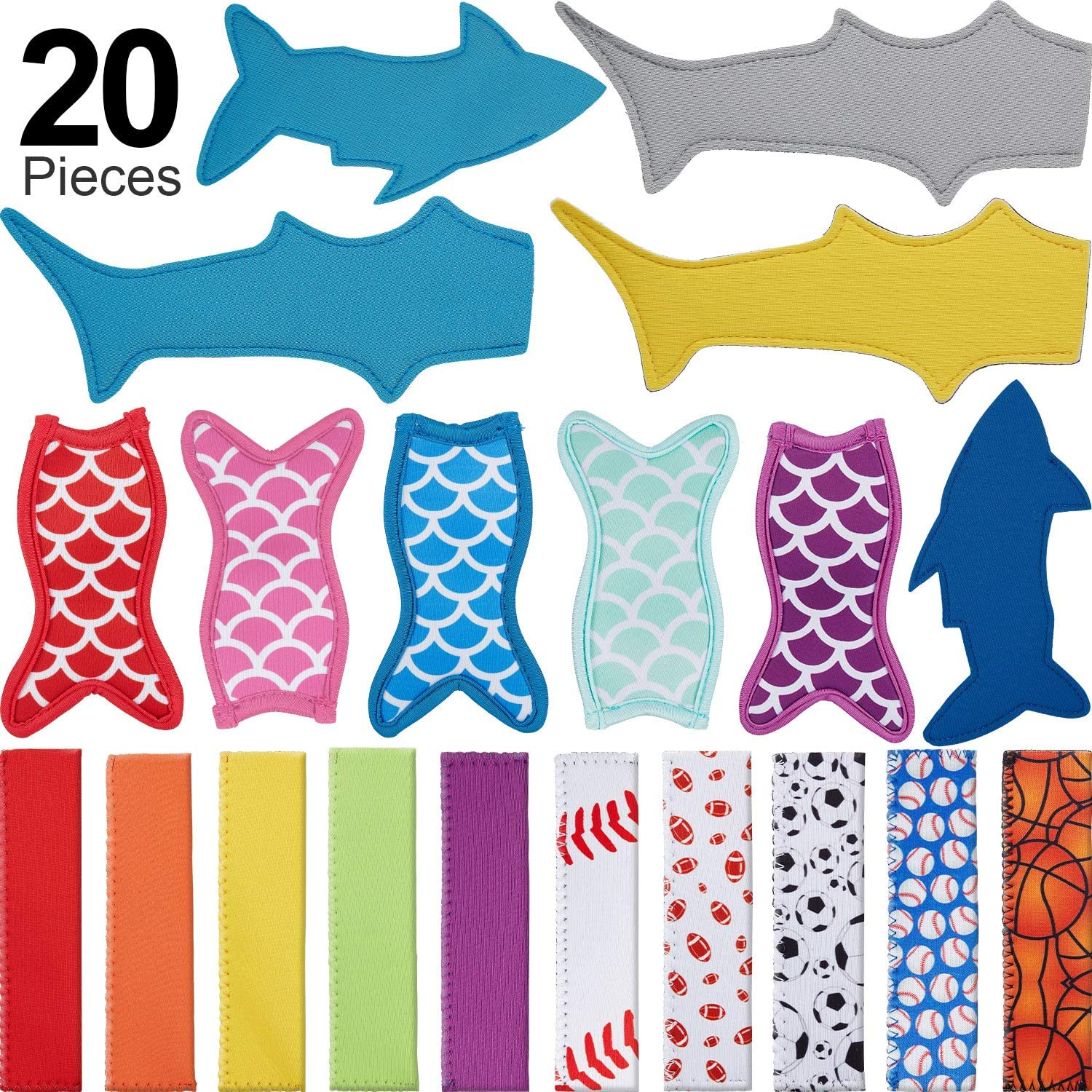 20 Pieces Ice Pop Holders Popsicle Holders Reusable Popsicle Sleeves Anti-freezing Popsicle Holders, 4 Styles, Mermaid Tail Shape, Shark Shape, Ball Pattern and Color Style