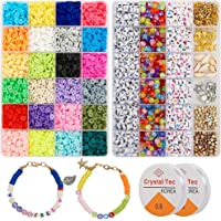 6000 Pcs Clay Heishi Beads for Bracelets, Flat Round Clay Spacer Beads With 900 Pcs Letter Beads, Pendants, Jump Rings…