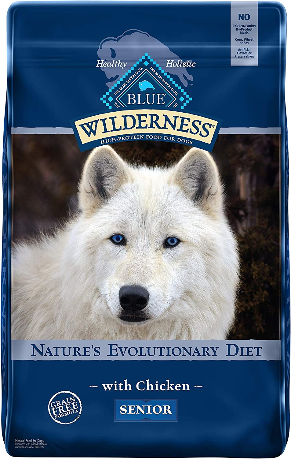 Blue Buffalo Wilderness High Protein, Natural Senior Dry Dog Food, Chicken 11-lb