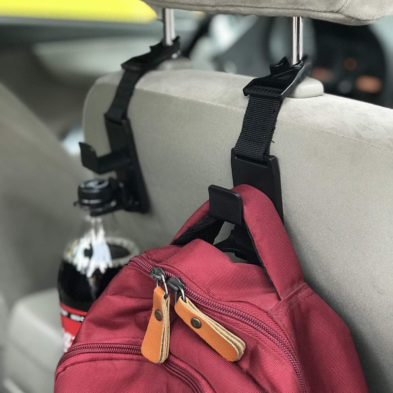 Car Purse Hanger Hook for Bag Car Headrest Hook Beige Car Seat Headrest Holder with Lock l-SMART 4 Pack