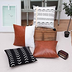 YUESUO 4pcs Faux Leather Throw Pillow Covers for Couch Farmhouse Decorative Stripe Pillow Cover Boho Modern Decor Pillow Case