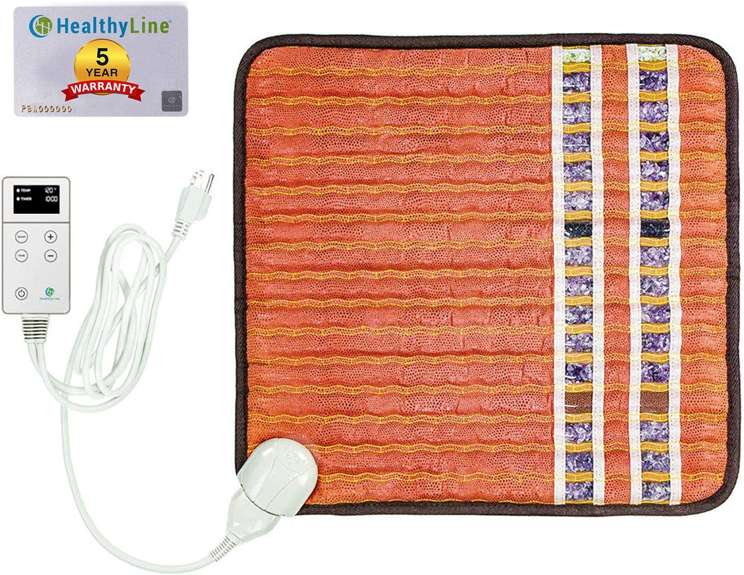 HealthyLine Far Infrared Small Heating Pad - Soft Mat Filled with Amethyst, Tourmaline and Obsidian Crystals - Negative Ion Therapy, EMF Blocking, Pain Relief - TAO Inframat Pro: Health & Personal Care