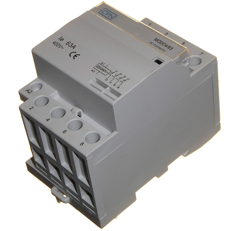 63 Amp 4-poliger AC Sch/ütz Normally Open 220//240 V Spule f/ür Heizungsbeleuchtung