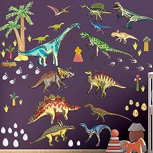 Dinosaur Wall Decals for Boys Room, Dinosaur Wall Stickers for Kids Bedroom,Large Dinosaur Wall Decor Decorations for Nursery, Living Room,Classroom Wall Art Sticker,Kids Birthday Christmas Gift