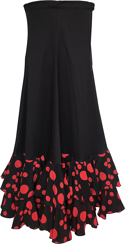 La Señorita Falda Flamenco Danza Sévillane Mujer Negro Puntos Rojo ...
