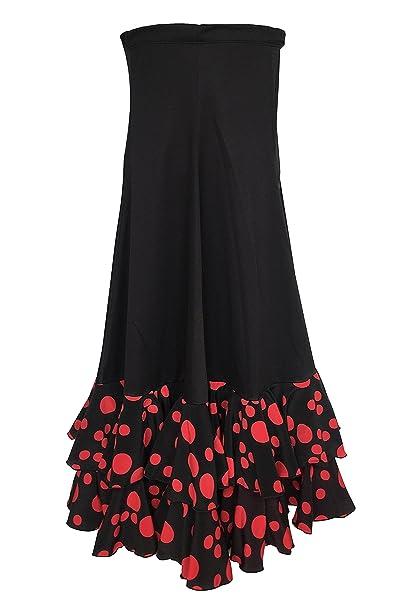 La Señorita Falda Flamenco Danza Sévillane mujer Lujo negro puntos ...