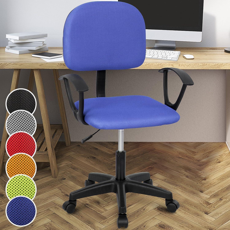 Miadomodo Sedia poltrona girevole da ufficio scrivania con schienale e sedile imbottiti altezza regolabile 82 – 92 cm colore blu BRDST030A0bl000S