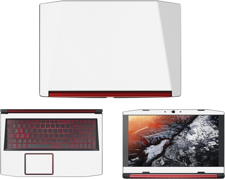 """decalrus - Protective Decal for Acer Nitro 5 AN515-51 (15.6"""" Screen) Laptop White Carbon Fiber Skin case Cover wrap CFacerNitro5_AN515-15White"""