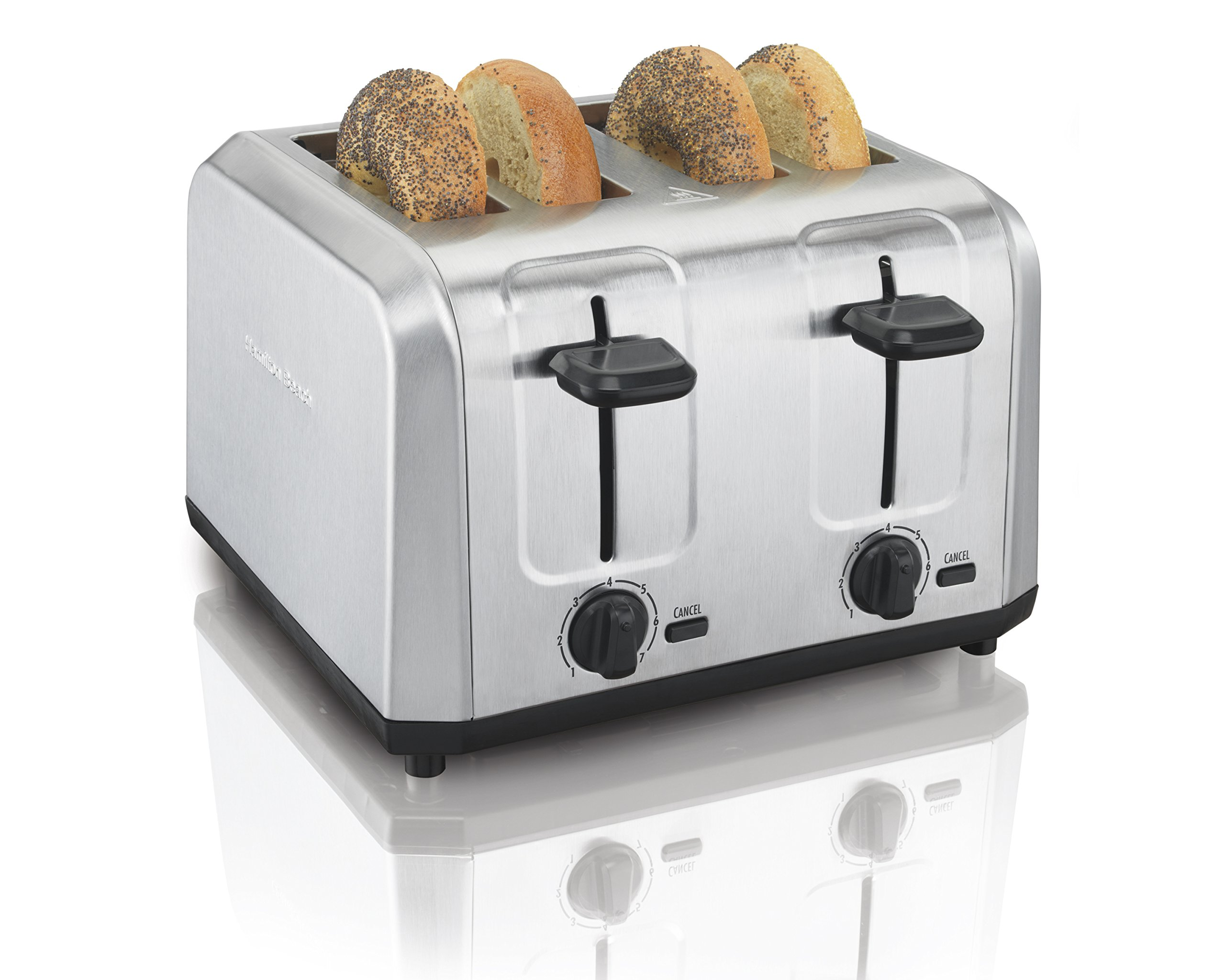 Hamilton Beach Brushed Stainless Steel 4-Slice Extra-Wide Toaster with Shade Selector, Toast Boost, Slide-Out Crumb Tray, Auto-Shutoff and Cancel Button (24910) by Hamilton Beach