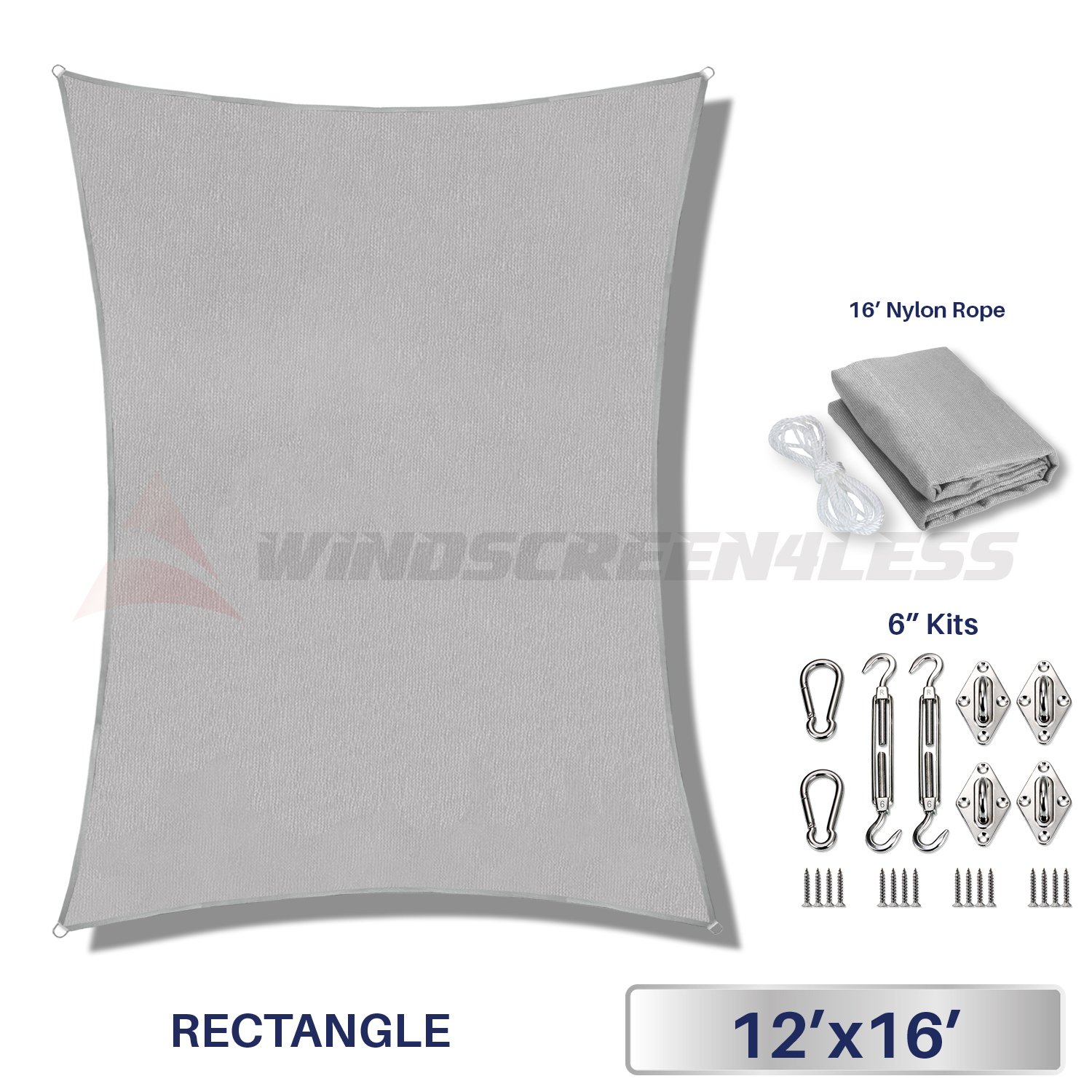Windscreen4less 12' x 16' Rectangle Sun Shade Sail with 6 inch Hardware Kit - Light Grey Durable UV Shelter Canopy for Patio Outdoor Backyard - Custom Size Available