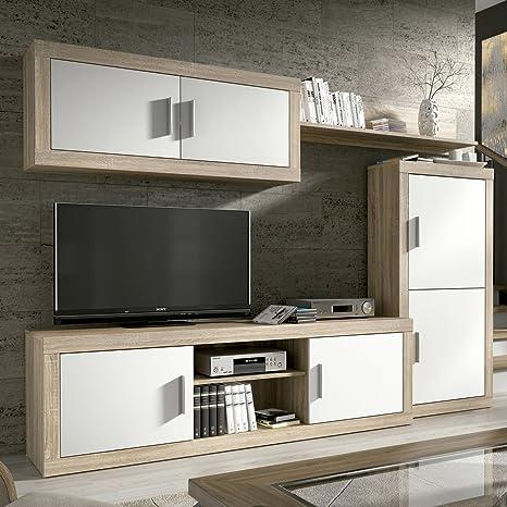 HomeSouth - Mueble de Comedor, Salon Modelo Ambar, Acabado Color Cambria y Blanco, Medidas: 248 cm de Ancho