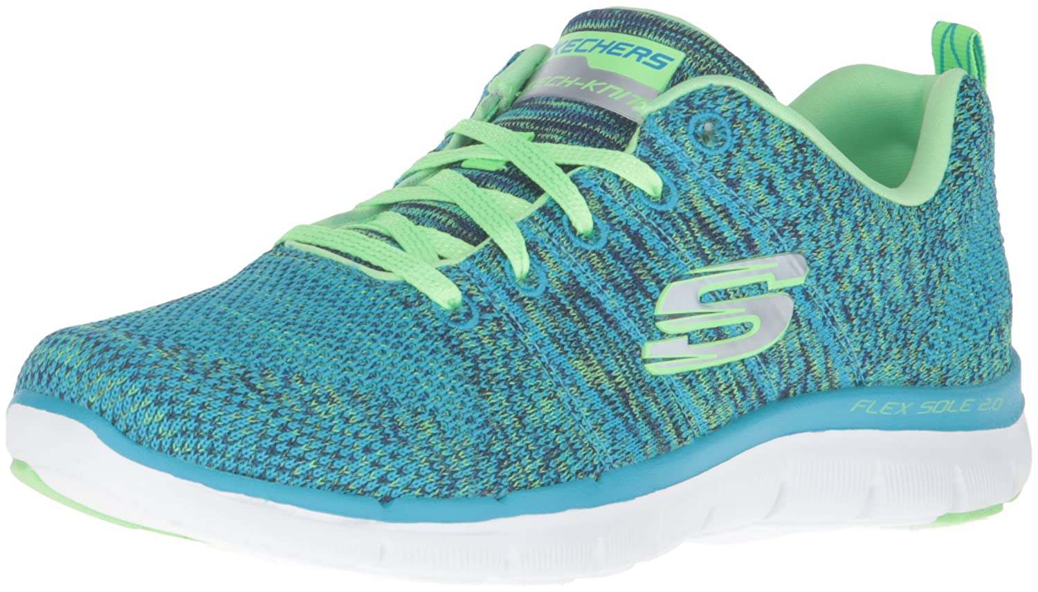 Bleu (Bllm Bleu Lime) Skechers Flex Appeal 2 High Energy, paniers Basses Femme
