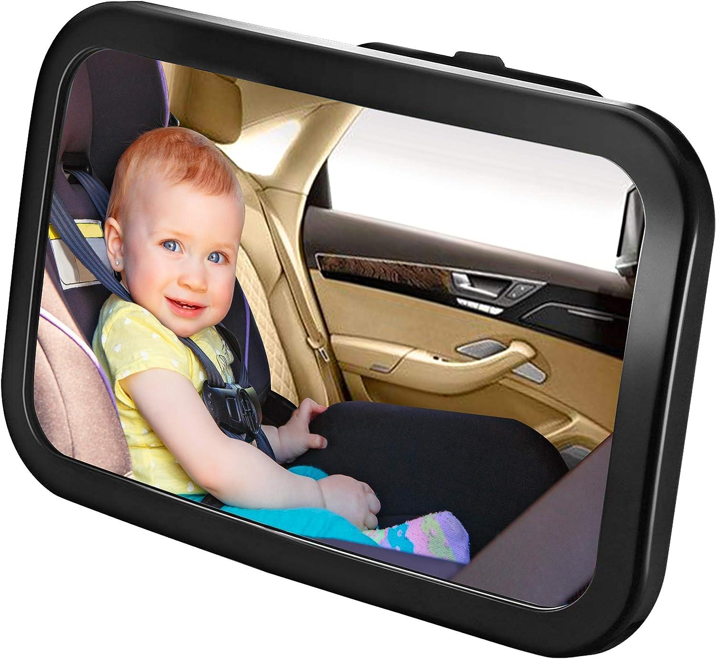 Karids Espejo Bebe Coche - Retrovisor Irrompible para la vigilancia de tu bebe en la parte interior del coche - Accesorio seguro con doble correa para asegurar - Color Negro - Panoramico 360°