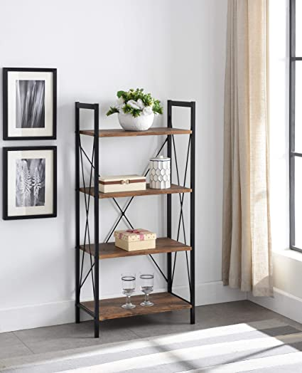 EHomeProducts 4 Tier Vintage Finish Metal Frame Bookcase Bookshelf Accent Display Shelf