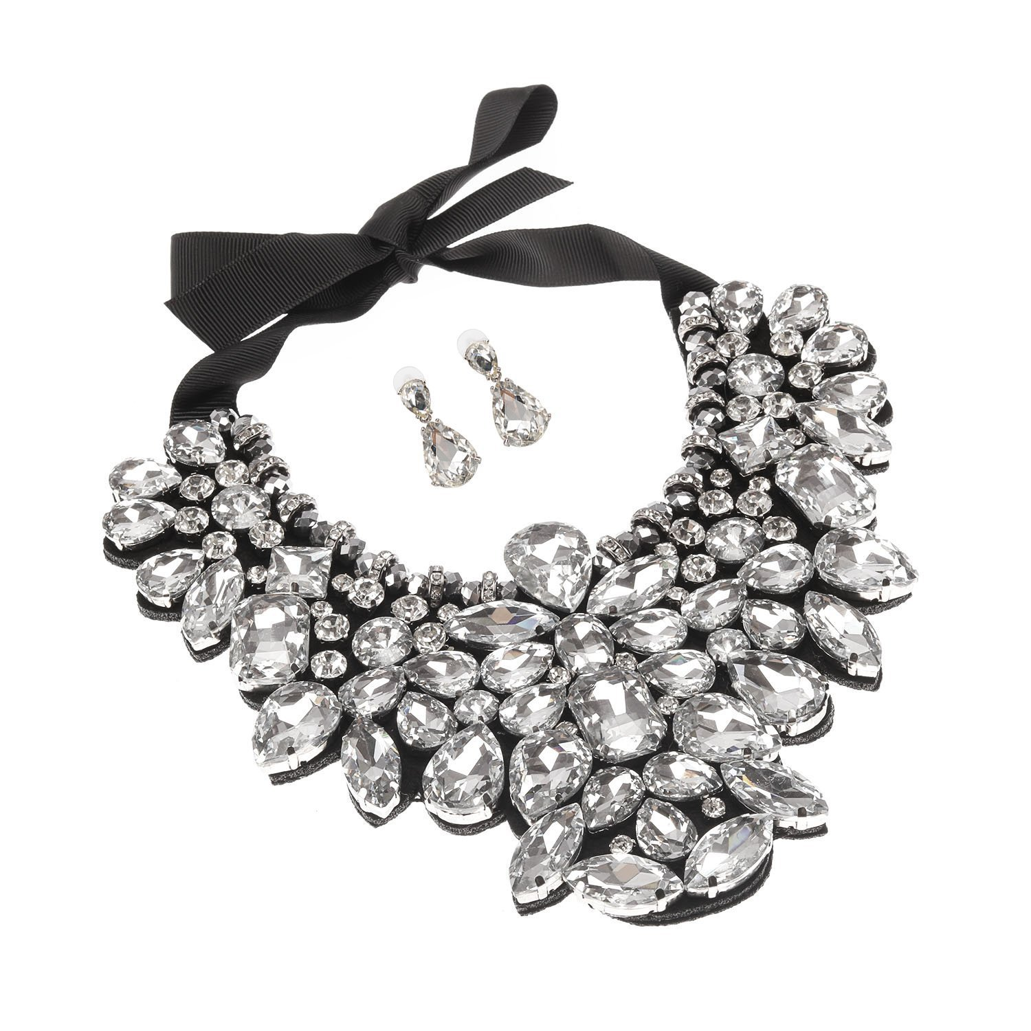 Holylove White Costume Statement Necklace with Earrings ...