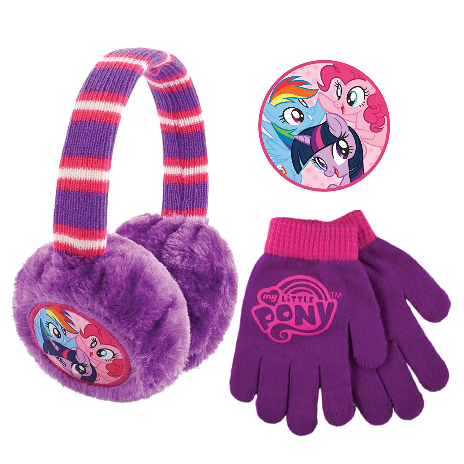 Hasbro Plush Girls Earmuffs and Glove Set, My Little Pony, Purple, Ages 4-7