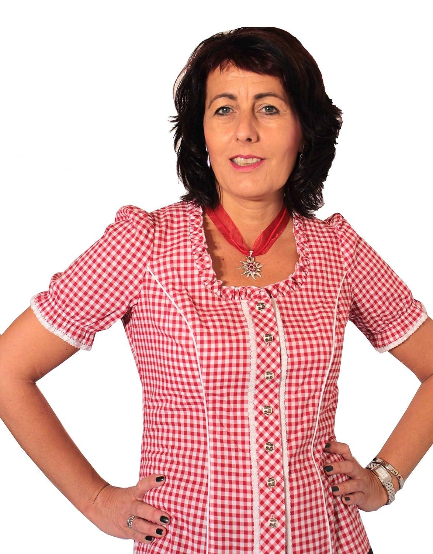 Modische rot karierte Trachtenbluse Petra Karobluse (52, rot)