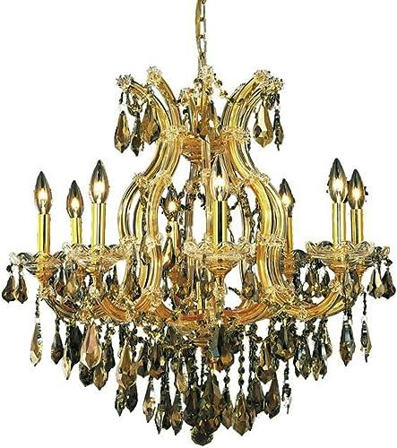 Elegant Lighting 2801D26G-GT RC Maria Theresa 9-Light Chandelier, Royal Cut Rc Crystal, 26 H, Gold Finish with Golden Teak Smoky