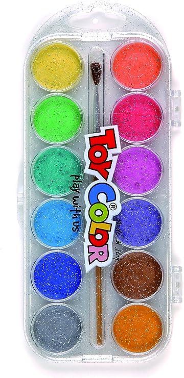 Toy Color - Acuarelas de plástico (pack de 12), colores nacarados: Amazon.es: Oficina y papelería