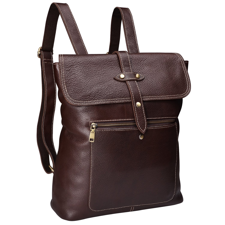 ALTOSY Fashion Leather Backpack Men Women Casual Daypacks Leather Rucksack 6927 dark brown