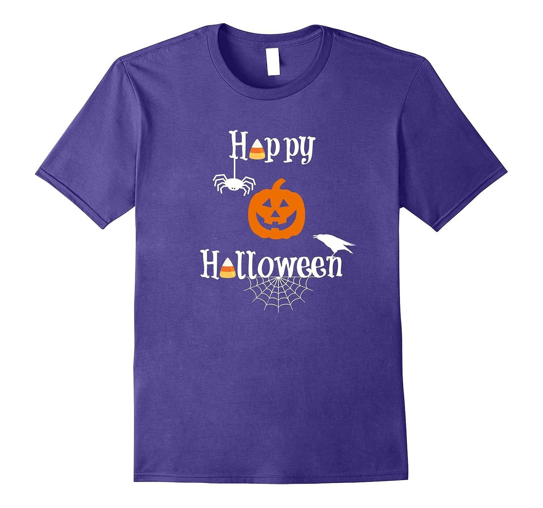 Happy Halloween Shirt with Candy, Pumpkin, Spider, & Crow-BN