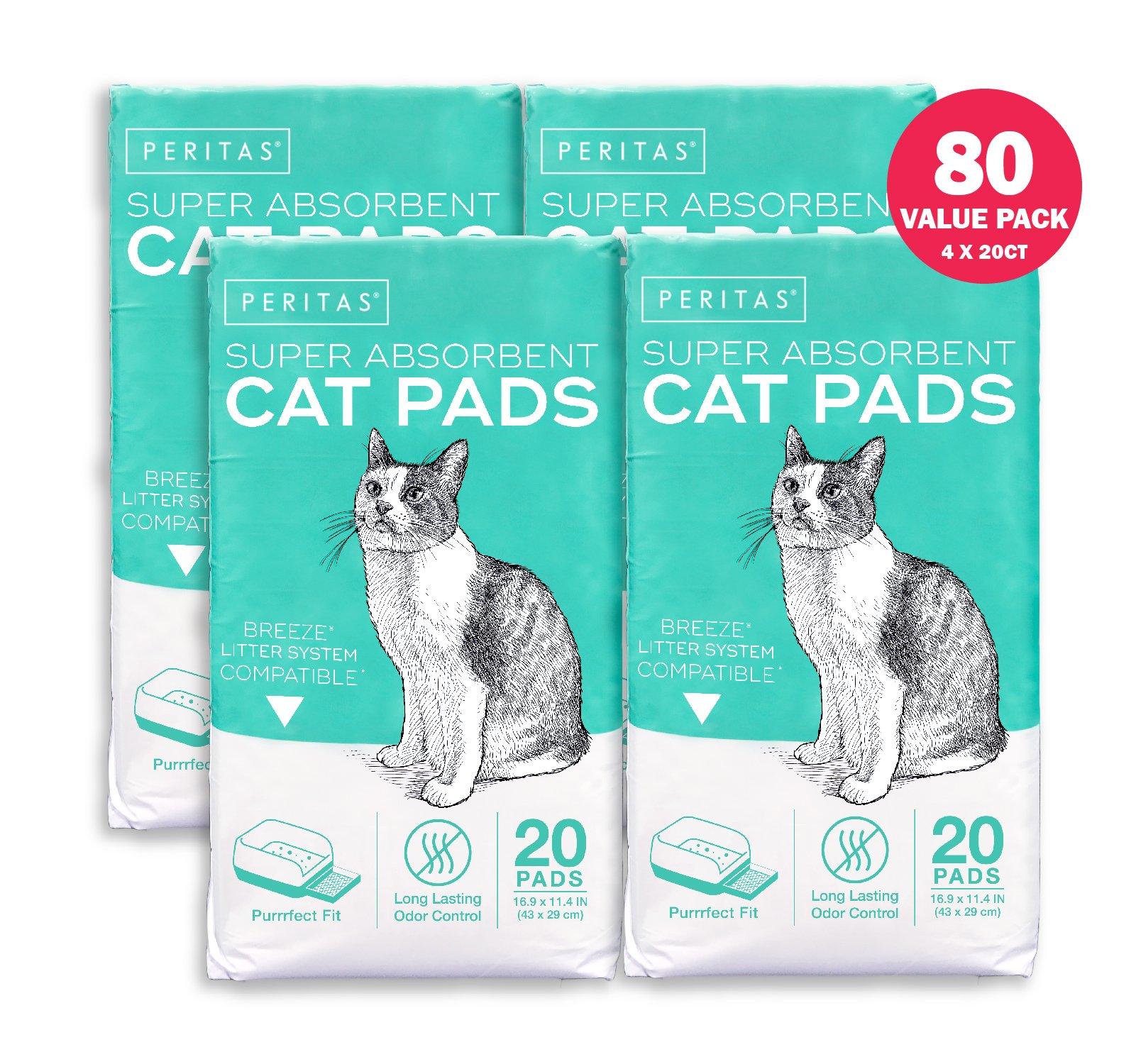 Peritas Cat Pads Generic Refill for Breeze Tidy Cat Litter System 16.9''x11.4'' (80 Count) by Peritas