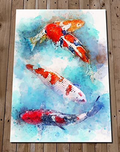 Koi Fish Painting Print   Japanese Carp Wall Art   Pond Fish Watercolor    Sea Life