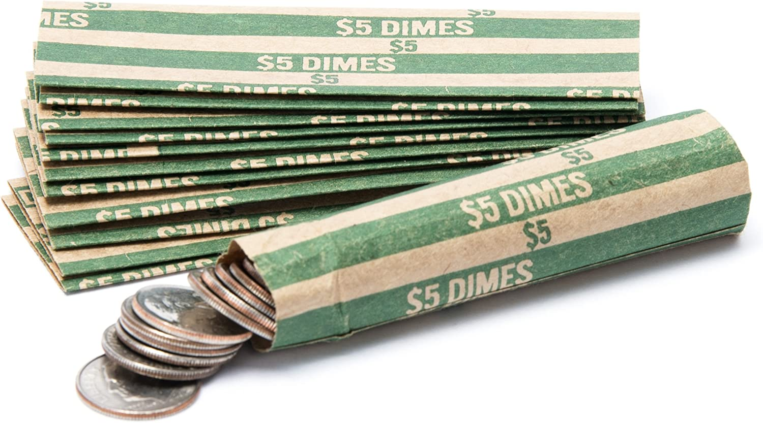 Dime Coin Wrappers, 100 Flat Striped Coin Wrappers