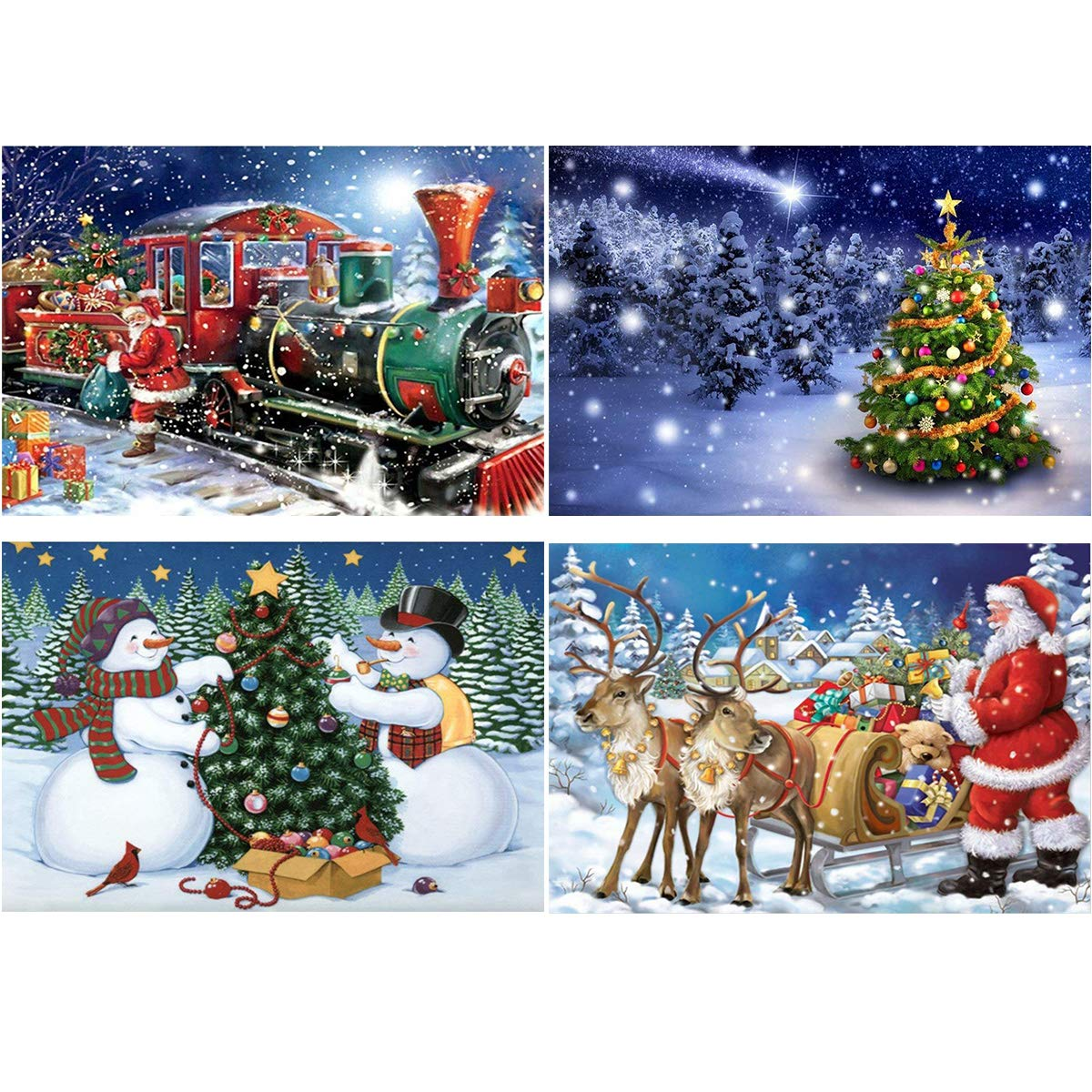 4 Pack 5D DIY Diamond Painting Kit Full Drill Wall Hanging Diamond Painting Set for Christmas Home Wall, Living Room Decor (Snowman) Suptee