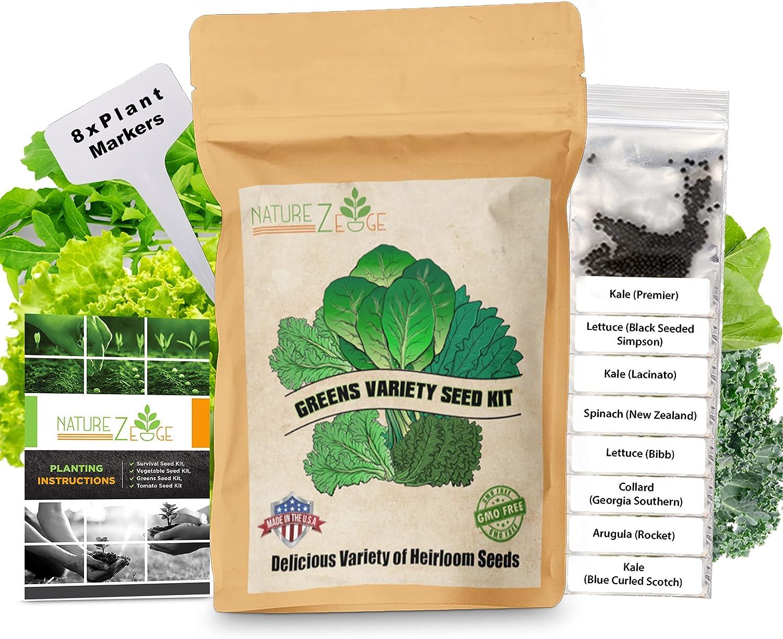 Heirloom Lettuce and Greens Seeds, 8 Varieties, 5300 Seeds, Lettuce, Kale, Arugula, Spinach, Collards, Non-GMO