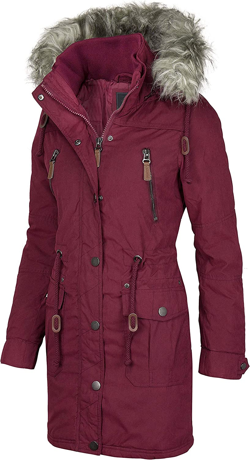 Zabaione Damen Winter Mantel Kuntsfell Kapuze 6 Pockets