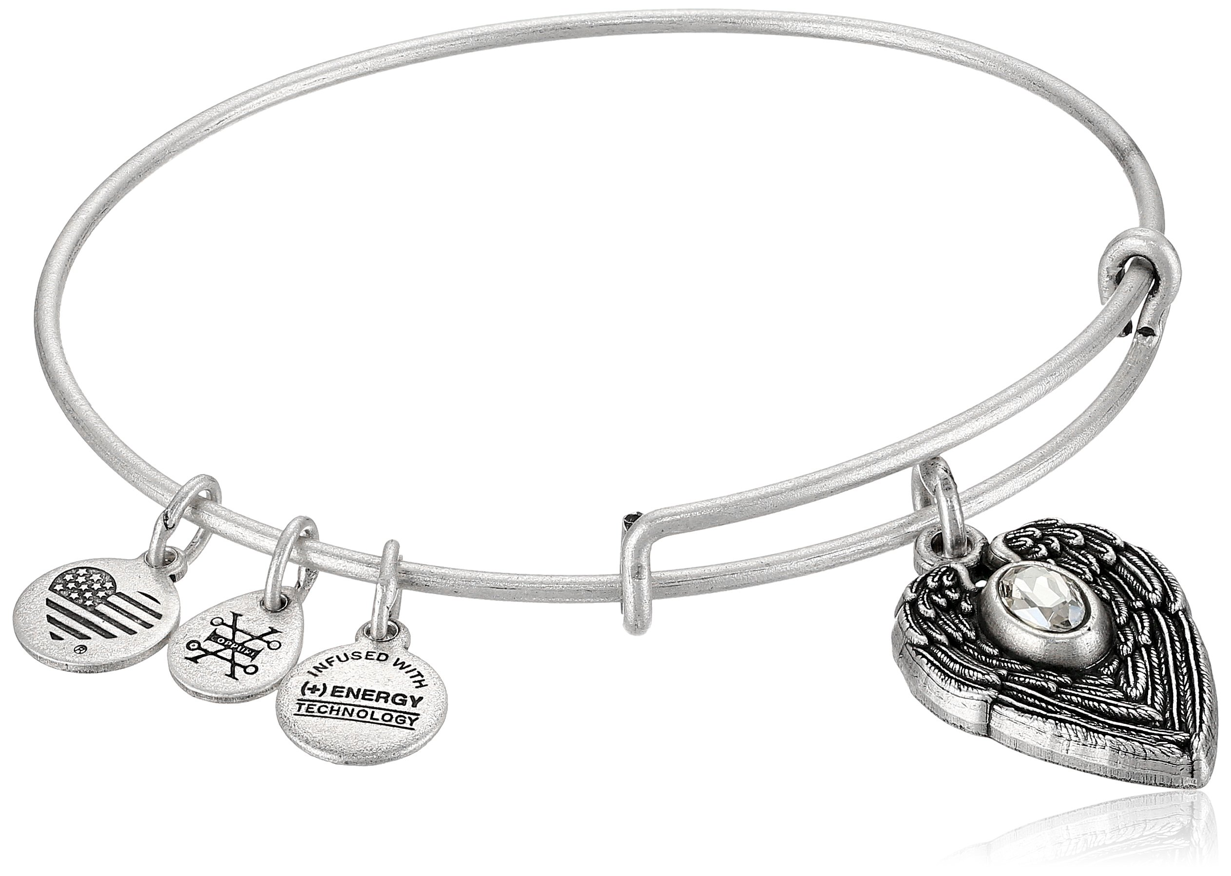 Alex and Ani ''Path of Symbols Guardian Angel Expandable Wire Silver Bangle Charm Bracelet