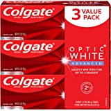 Colgate Optic White Advanced Teeth Whitening Toothpaste with Fluoride, 2% Hydrogen Peroxide, Sparkling White - 3.2 Ounce (3 P