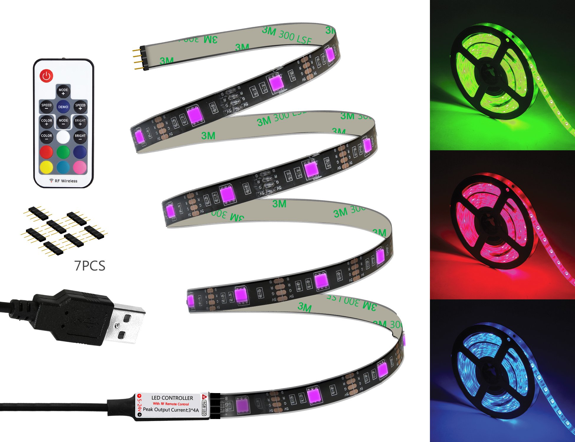 WYNK LED Strip Lights with Remote USB Back Light Fixture DIY 5050RGB Flexible 3.4M 104LED Color Changing Full Kit + 4 Connector + Remote Controller for Computer/TV/Home/Kitchen/Christmas Decorative by WYNK (Image #3)