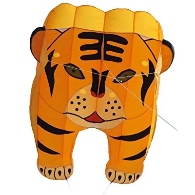 Fullfar Tiger 3D Kite for Adult, Soft Nylon Material Parafoil Kite for Kids. Easy to Fly 244×39 inch with Kite String and Backpack, Perfect Kite for The Beach or Park.: Sports & Outdoors