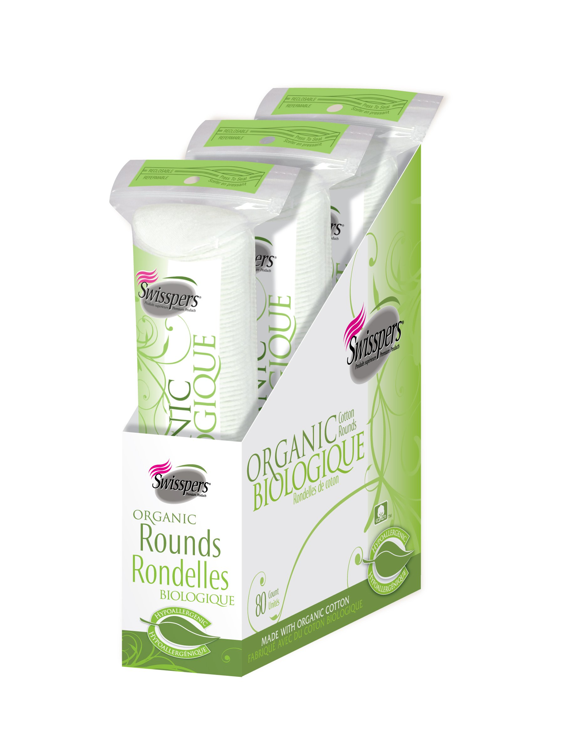 Swisspers Organic 100% Natural Organic Cotton Rounds, 80-Count Rounds per Pack, 3 Packs (240 Rounds Total)