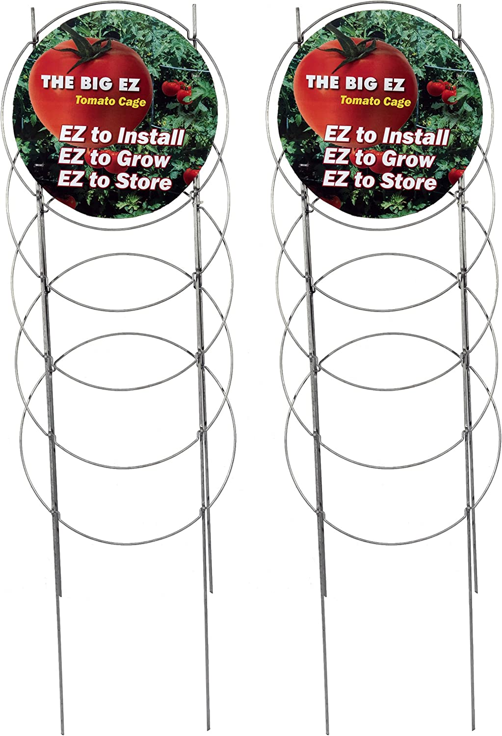 EZGrow TC-4-2 The Big EZ Heavy Duty Folding Tomato Cage Plant Support, 2-Pack Silver