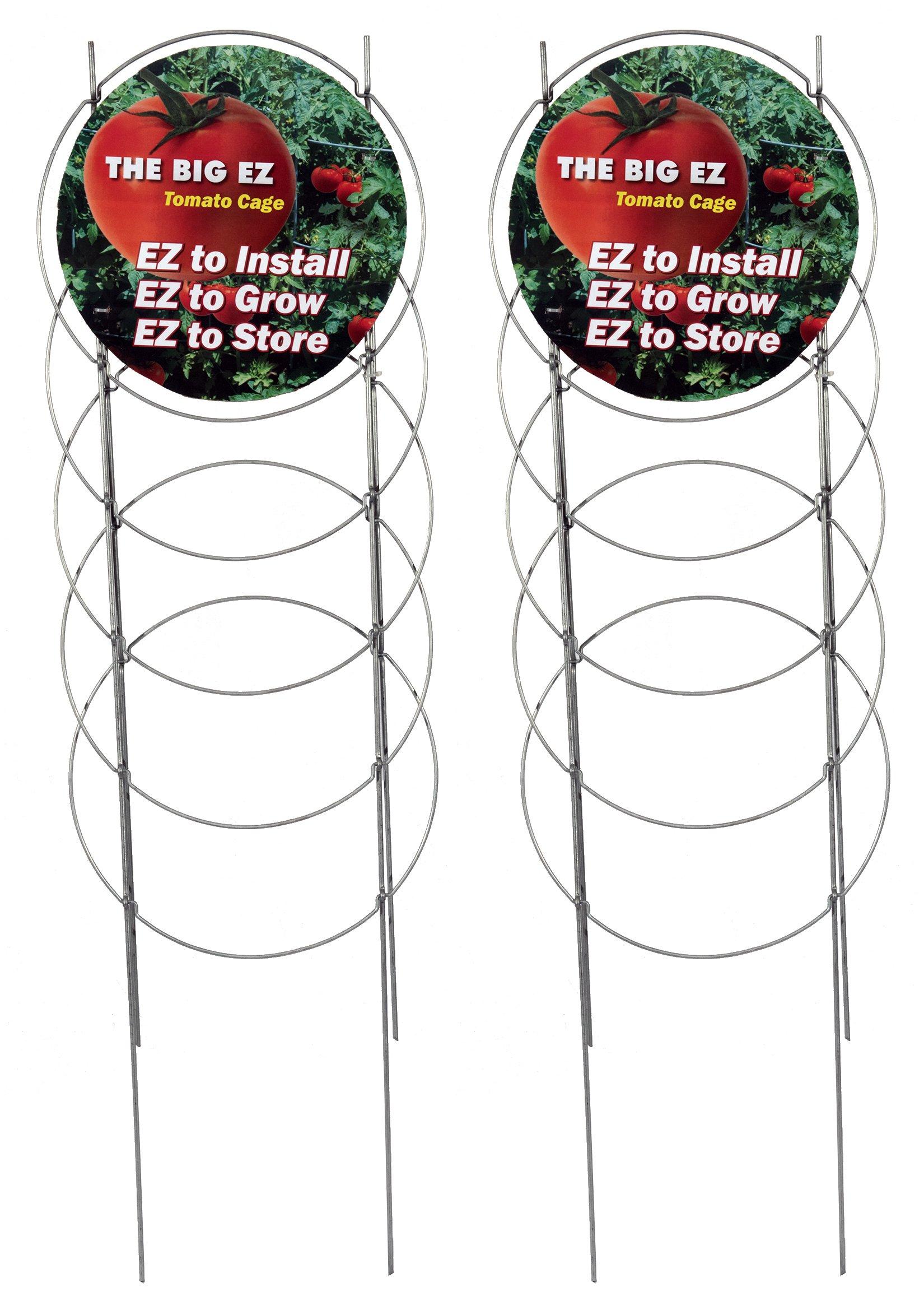 Dasco Pro Fiberglass Innovations EZ Grow TC-4 The Big EZ Heavy Duty Folding Tomato Cage and Plant Support, 2 Pack, Galvanized