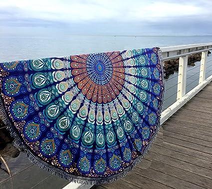 Pañuelo redondo con estampado de cola de pavo real y mandala indio, toalla