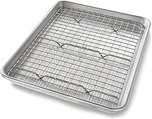 USA Pan 1604CR Quarter Sheet Baking Pan and Bakeable Nonstick Cooling Rack, Metal