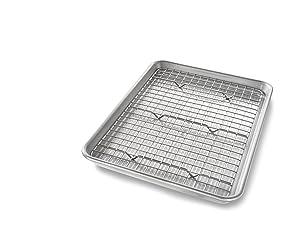 USA Pan 1604CR Quarter Sheet Baking Pan and Bakeable Nonstick Cooling Rack Metal