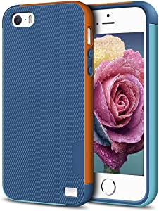EXSEK iPhone 5/5S SE Case, Hybrid Impact Ultra Slim 3 Color Shockproof Case [Anti-Slip] Scratch Resistant Soft Gel Rugged Case for iPhone 5/5S (Dark Blue)