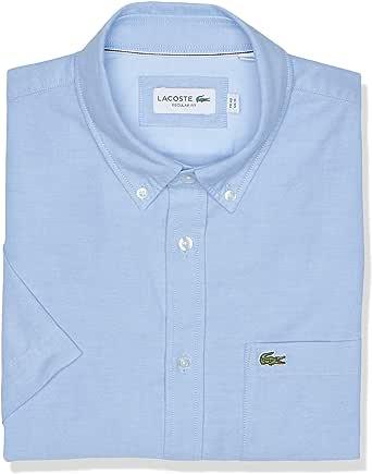 Lacoste Men's Short Sleeve Oxford Button Down Collar Regular Fit Woven Shirt, CH4975